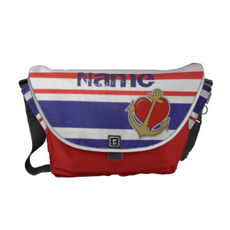 Marine Stripes with Anchor and Heart Courier Bag