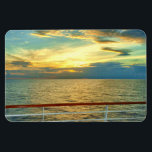 """Marine Sunrise Horizontal Magnet<br><div class=""""desc"""">A scene looking seaward just after daybreak from a cruise ship in the Caribbean Sea.  There are few things more inspiring that the sweeping beauty presented by a sunrise over the vast expanse of the ocean.</div>"""