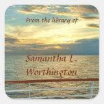 Marine Sunrise Personalized Bookplates Square Sticker