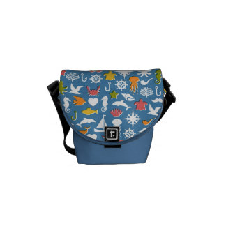 Marine Symbols Pattern Courier Bag