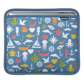 Marine Symbols Pattern iPad Sleeve