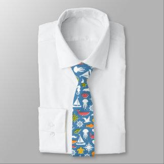 Marine Symbols Pattern Necktie