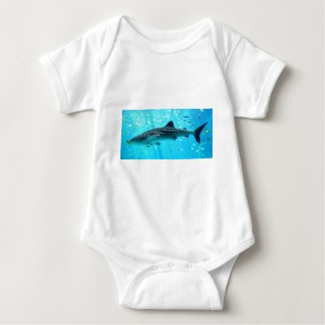 Beach Themed Marine Water Chic Stylish Cool Blue Whale Shark Baby Bodysuit