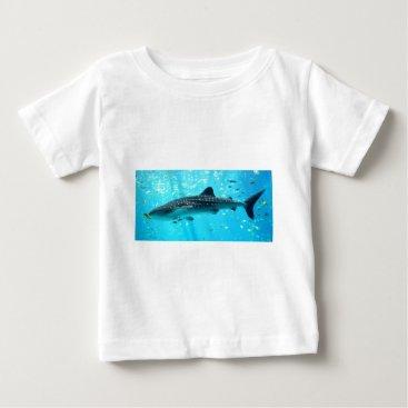 Beach Themed Marine Water Chic Stylish Cool Blue Whale Shark Baby T-Shirt