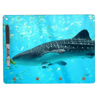 Marine Water Chic Stylish Cool Blue Whale Shark Dry Erase Board With Keychain Holder