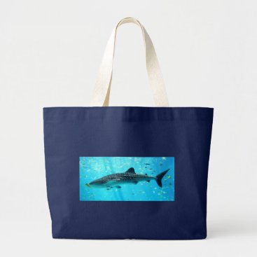 Beach Themed Marine Water Chic Stylish Cool Blue Whale Shark Large Tote Bag