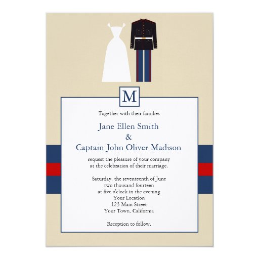 marine wedding invitation zazzle With wedding invitation marine design