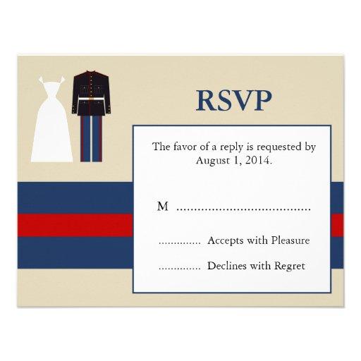 Marine Wedding Invitation RSVP Card 425 X 55 Invitation Card