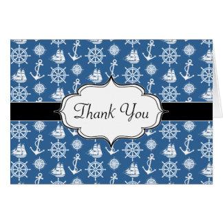 Marinero azul del capitán de buque y blanco tarjeta de felicitación