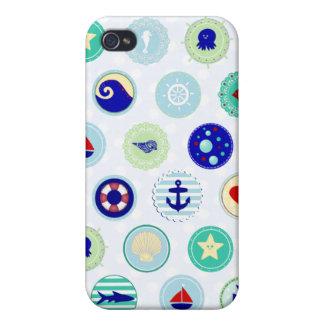 Marinero azul náutico Pern iPhone 4 Carcasas