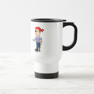 Marinero colorido del pirata del dibujo animado taza de viaje de acero inoxidable