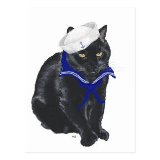 Marinero del gato negro postales