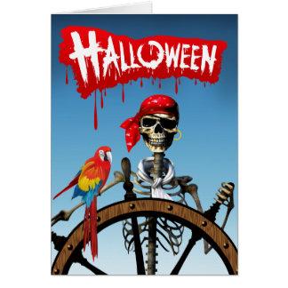 Marinero esquelético del pirata con el fiesta de tarjeta de felicitación