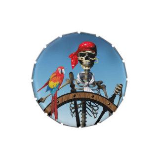 Marinero esquelético del pirata con el Macaw Hallo Jarrones De Dulces