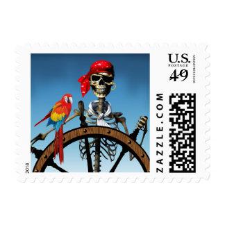 Marinero esquelético del pirata con el Macaw Sello