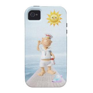Marinero feliz lindo en paseo marítimo iPhone 4 fundas