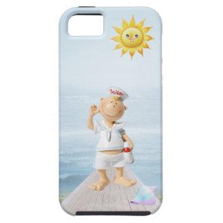 Marinero feliz lindo en paseo marítimo iPhone 5 protector