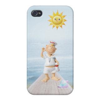 Marinero feliz lindo en paseo marítimo iPhone 4/4S fundas
