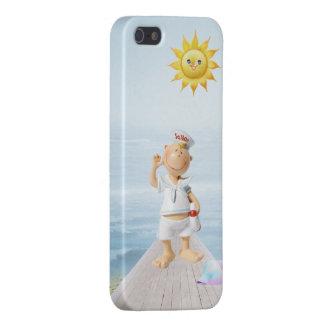 Marinero feliz lindo en paseo marítimo iPhone 5 cobertura