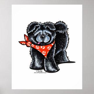 Marinero negro del perro chino de perro chino posters