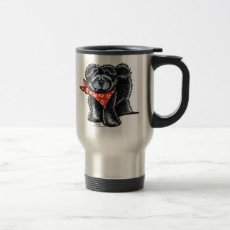 Marinero negro del perro chino de perro chino taza de viaje de acero inoxidable