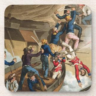 Marineros británicos que suben a un buque de guerr posavasos de bebida
