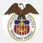 Marineros del sello de la marina mercante de pegatinas redondas