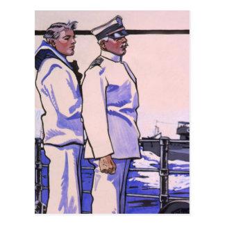 Marineros hermosos, arte WW1 1917 Postal