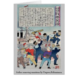 Marineros que quitan las municiones por Utagawa, K Tarjeta Pequeña