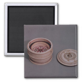 Mariner's compass in an ivory case 2 inch square magnet