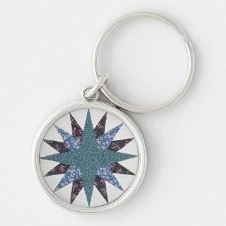 Mariner's Compass Quilt Keychain