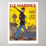 Marines - active service - land, sea, air poster
