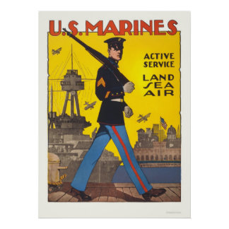 Marines - active service - land, sea, air print