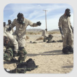Marines and Sailors assist each other Square Sticker