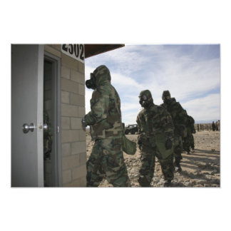 Marines and Sailors file into the gas chamber Photo Print