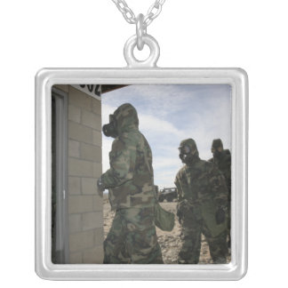 Marines and Sailors file into the gas chamber Silver Plated Necklace