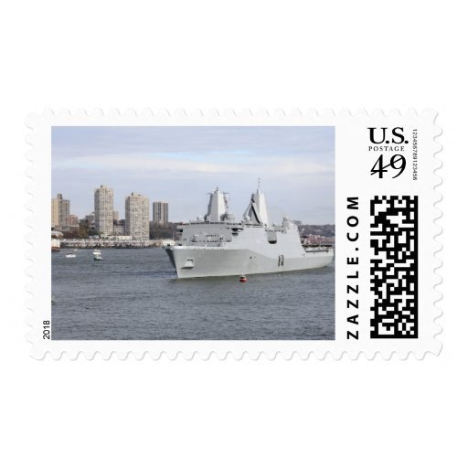 Marines and sailors man the rails postage stamp