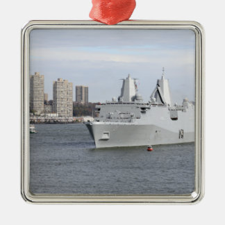 Marines and sailors man the rails square metal christmas ornament