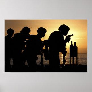 Marines fire 9mm handguns poster