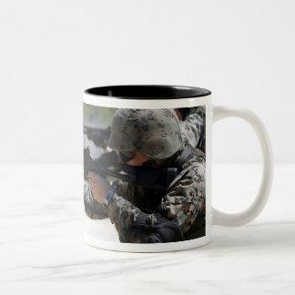 Marines firing shotguns Two-Tone coffee mug