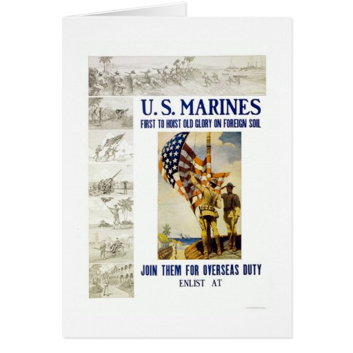 Marines - First to Hoist Old Glory on Foreign Soil Greeting Card