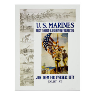 Marines - First to Hoist Old Glory on Foreign Soil Poster