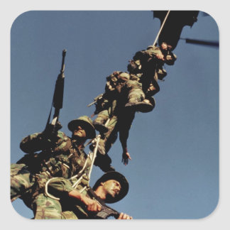 Marines on a SPIE RIG. a rope device that will Square Sticker