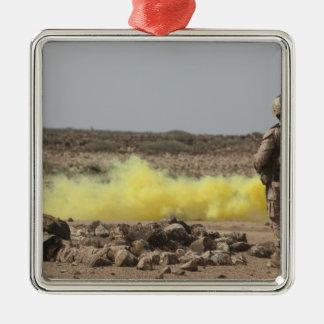 Marines provide security metal ornament