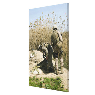 Marines search for weapons caches canvas print