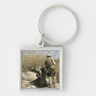 Marines search for weapons caches Silver-Colored square keychain