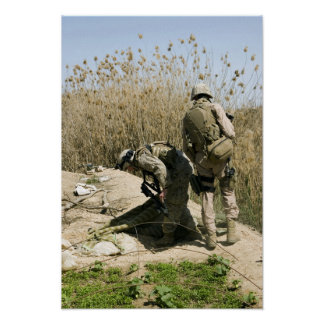 Marines search for weapons caches poster