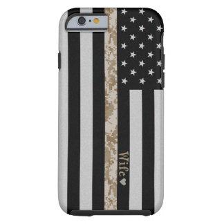 Marines Thin Desert Camo Wife Line Flag iPhone 6 Tough iPhone 6 Case