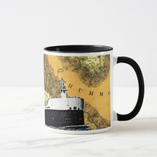 Marino americano y vieja carta del lago Hurón Taza