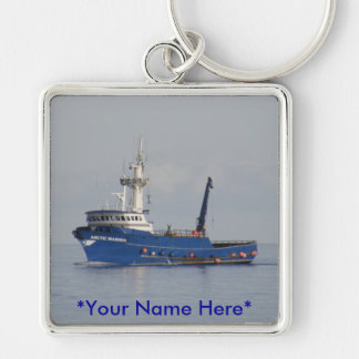 Marino ártico, barco del cangrejo en el puerto hol llavero cuadrado plateado